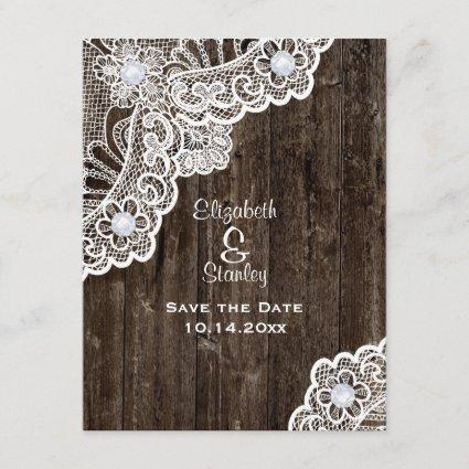 Vintage white lace, old wood wedding Save the Date