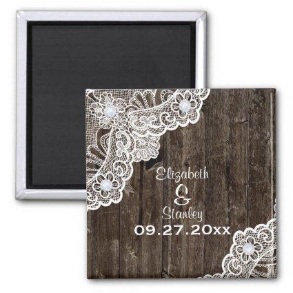 Vintage white lace, old wood wedding Save the Date Magnets