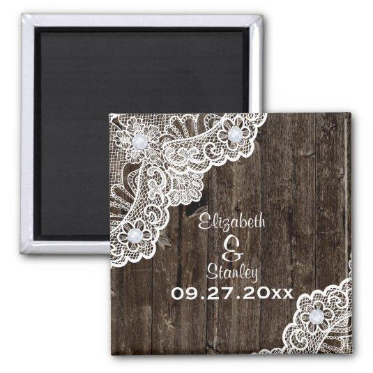 Vintage white lace, old wood wedding Save the Date Magnet
