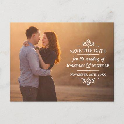 Vintage White Overlay Photo Save the Date Announcement