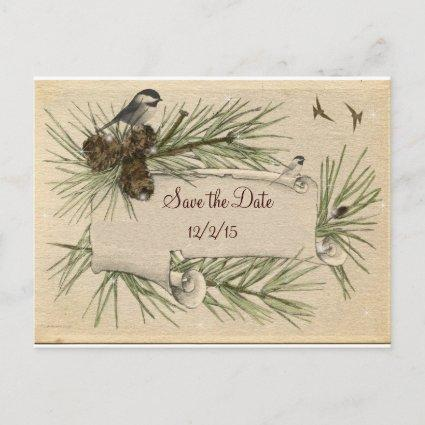 Vintage, Winter,  Country Wedding, Save the Date Announcement