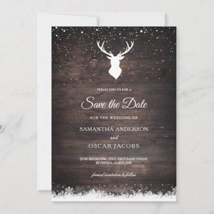Vintage Winter Simple Deer & Snowflaks Save The Da Save The Date