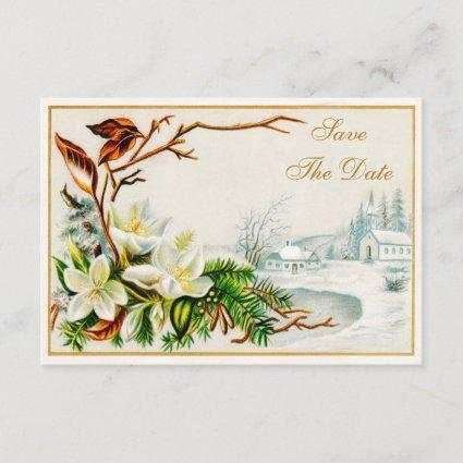 Vintage Winter Snow Church & Lilies Save The Date