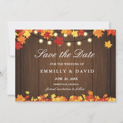 Vintage Wood & Fall Orange Leaf Save The Date