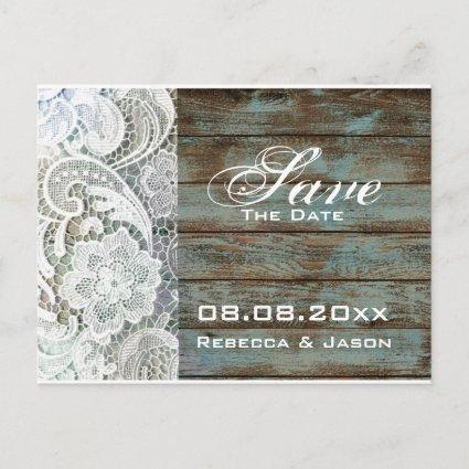 vintage wood lace country wedding save the date announcement