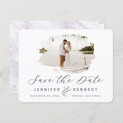 Violet Purple Romantic Brushed Frame with Photo Save The Date