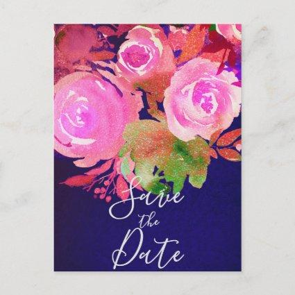 Vivid Purple Modern Spring Floral Save the Date Announcement