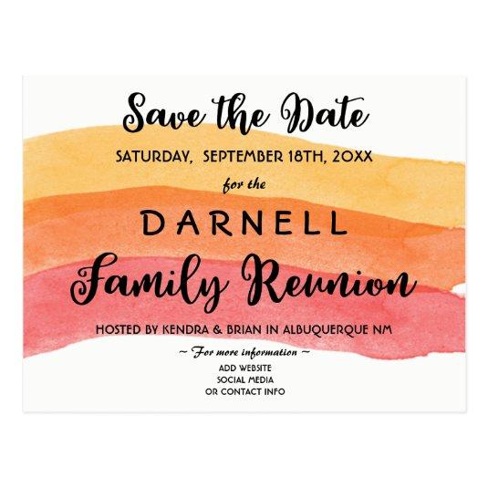 Warm Paint Brush Family Reunion Save the Date Cards