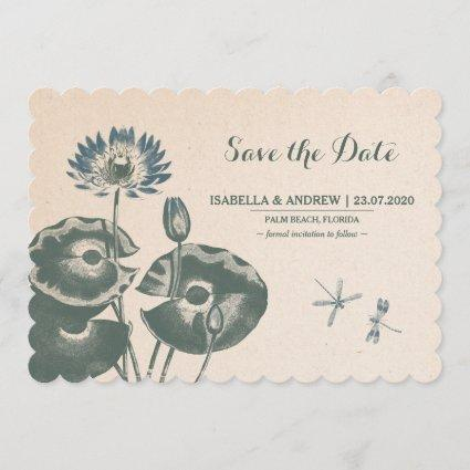 Water Lily and Dragonfly Save The Date