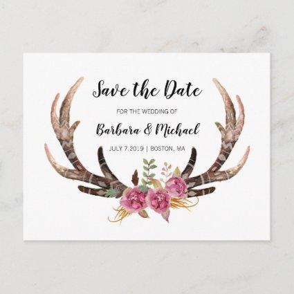 Watercolor Antlers Save the Date Country Wedding Announcement