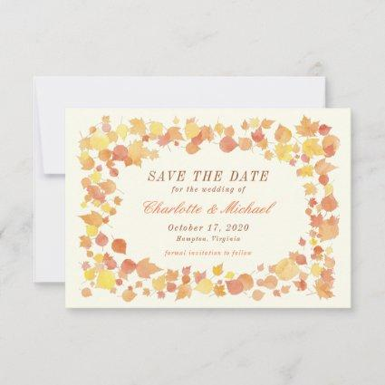 Watercolor Autumn Leaves Save the Date Card