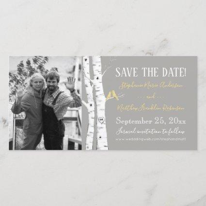 Watercolor Birch Trees with Yellow Birds Save The Date