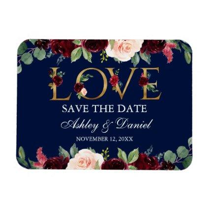 Watercolor Blue Burgundy Floral Love Save The Date Magnet