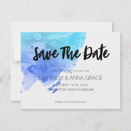 Watercolor Blue Paint Splatter Save The Date