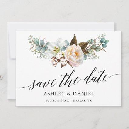 Watercolor Botanical Floral Calligraphy Save The Date