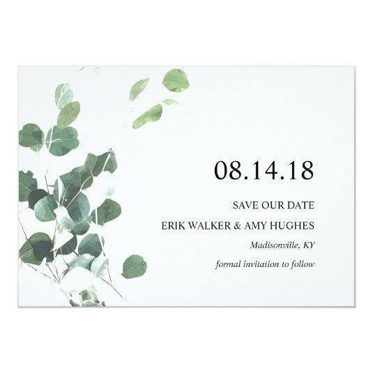 Watercolor botanical greenery save the date card