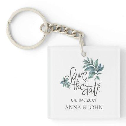 Watercolor Botanical Handwritten Save The Date Keychain