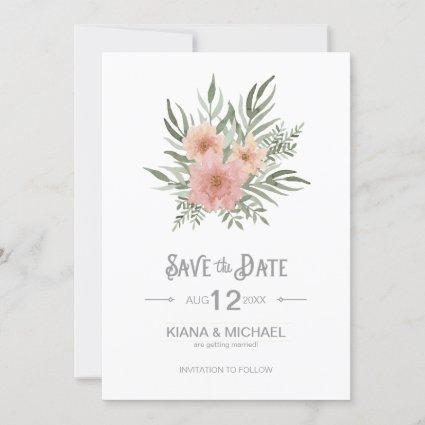 Watercolor Bouquet Wedding Blush ID654 Save The Date
