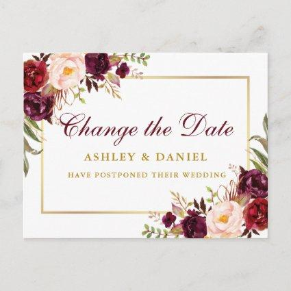 Watercolor Burgundy Floral Gold Change The Date