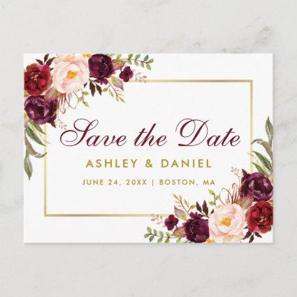 Watercolor Burgundy Floral Gold Save The Date Announcement