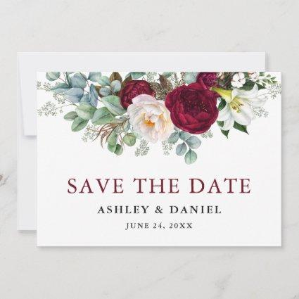 Watercolor Burgundy Floral Greenery Save The Date