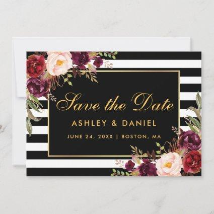 Watercolor Burgundy Floral Striped Save The Date
