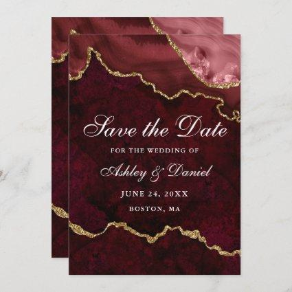 Watercolor Burgundy Gold Marble Agate Geode Save The Date