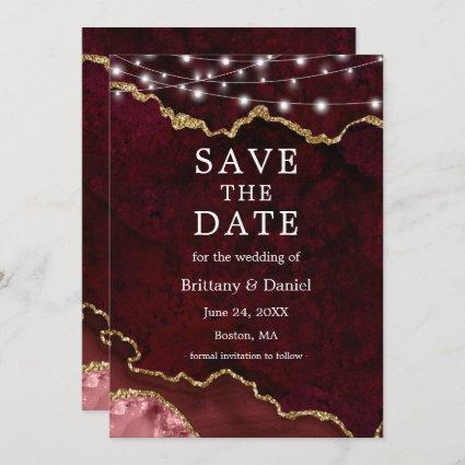 Watercolor Burgundy Gold Marble Geode Lights Save The Date