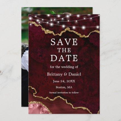 Watercolor Burgundy Marble Geode Lights Photo Save The Date