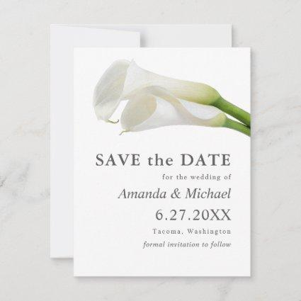 Watercolor Calla Lilies Save the Date with Photo