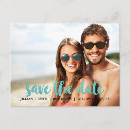 Watercolor Calligraphy Overlay Save the Date Photo Announcement