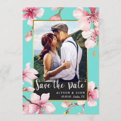 Watercolor Cherry Blossom Photo Save the Date