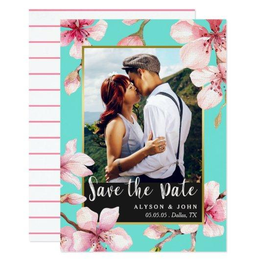 Watercolor Cherry Blossom Photo Save the Date Card