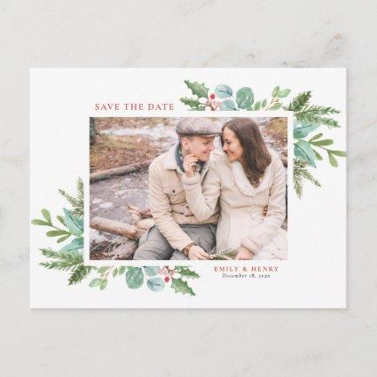Watercolor Christmas Foliage Photo Save the Date Announcement