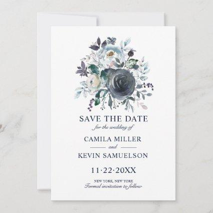 Watercolor Classic Blue Navy Floral Wedding Save The Date