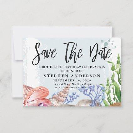 Watercolor Coastal 40th Birthday Party Save The Date