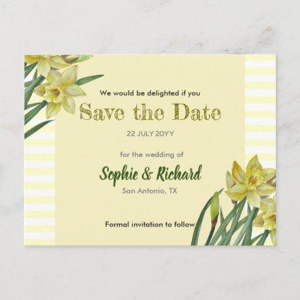 Watercolor Daffodils Flower Portrait Save The Date Announcement