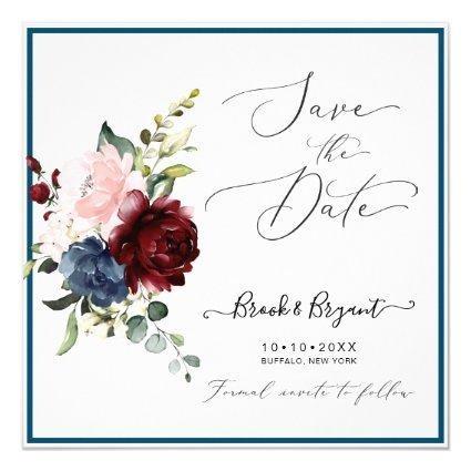 Watercolor Dusty Blue Burgundy Blush Roses Invitation
