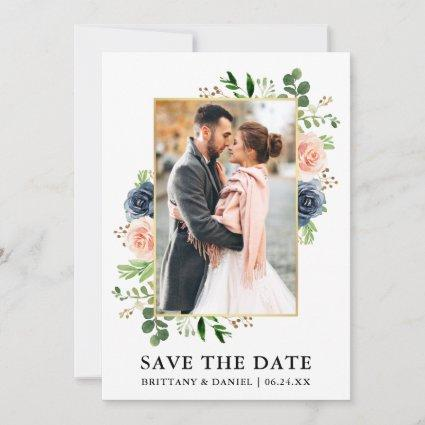 Watercolor Dusty Blue Roses Save The Date Card
