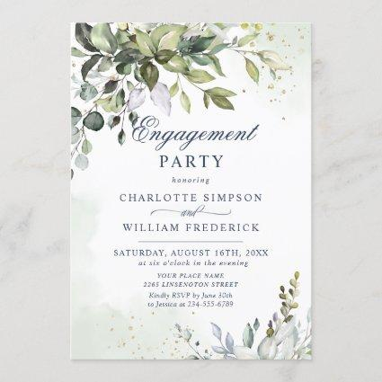 Watercolor Eucalyptus Greenery ENGAGEMENT PARTY Invitation