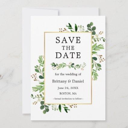 Watercolor Eucalyptus Greenery Save The Date Card