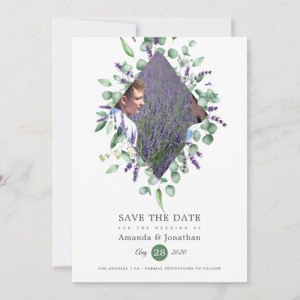 Watercolor Eucalyptus Lavender Greenery Wedding Save The Date
