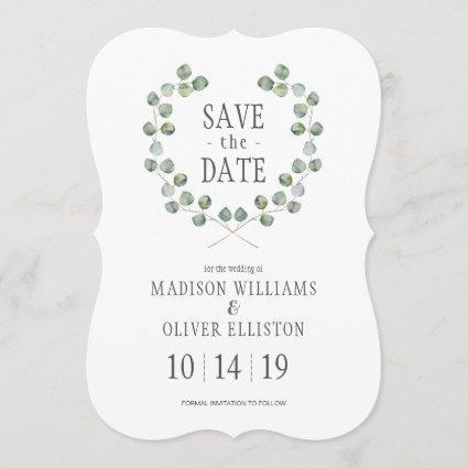 Watercolor Eucalyptus Leaf Frame | Save the Date