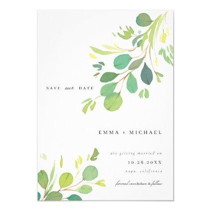 Watercolor Eucalyptus Leaves Save the Date Card