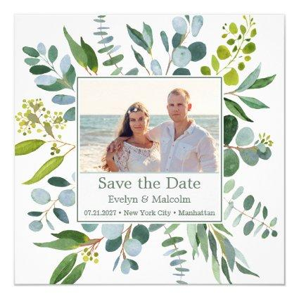 Watercolor eucalyptus leaves Save the Date Photo Invitation