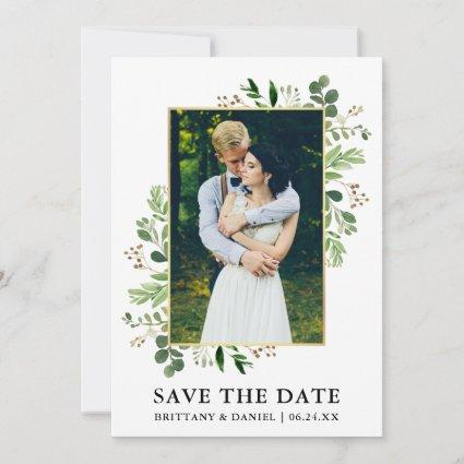 Watercolor Eucalyptus Photo Save The Date Card