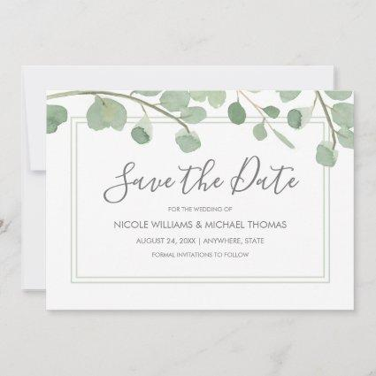 Watercolor Eucalyptus Save The Date