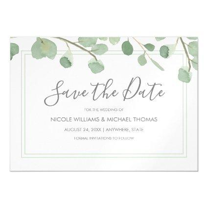 Watercolor Eucalyptus Save the Date Magnetic Invitation