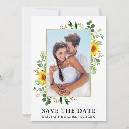 Watercolor Eucalyptus Sunflower Save The Date Card
