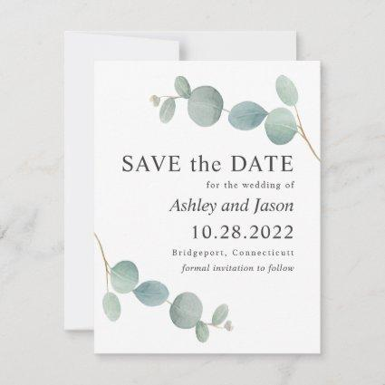 Watercolor Eucalyptus Wedding Save the Date
